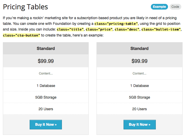 Sample of Pricing Table User Interface in ZURB Foundation