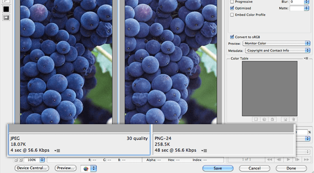 File size รูป PNG VS JPEG