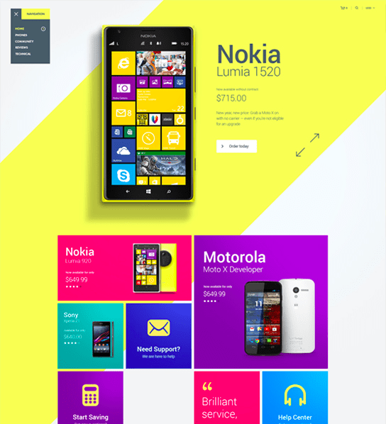 Nokia Website Vibrant Design