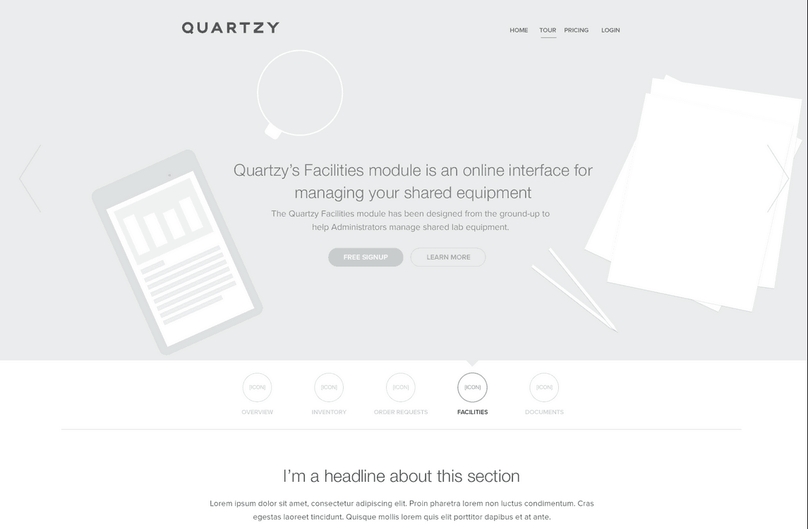 Black and White Wireframe Website Design