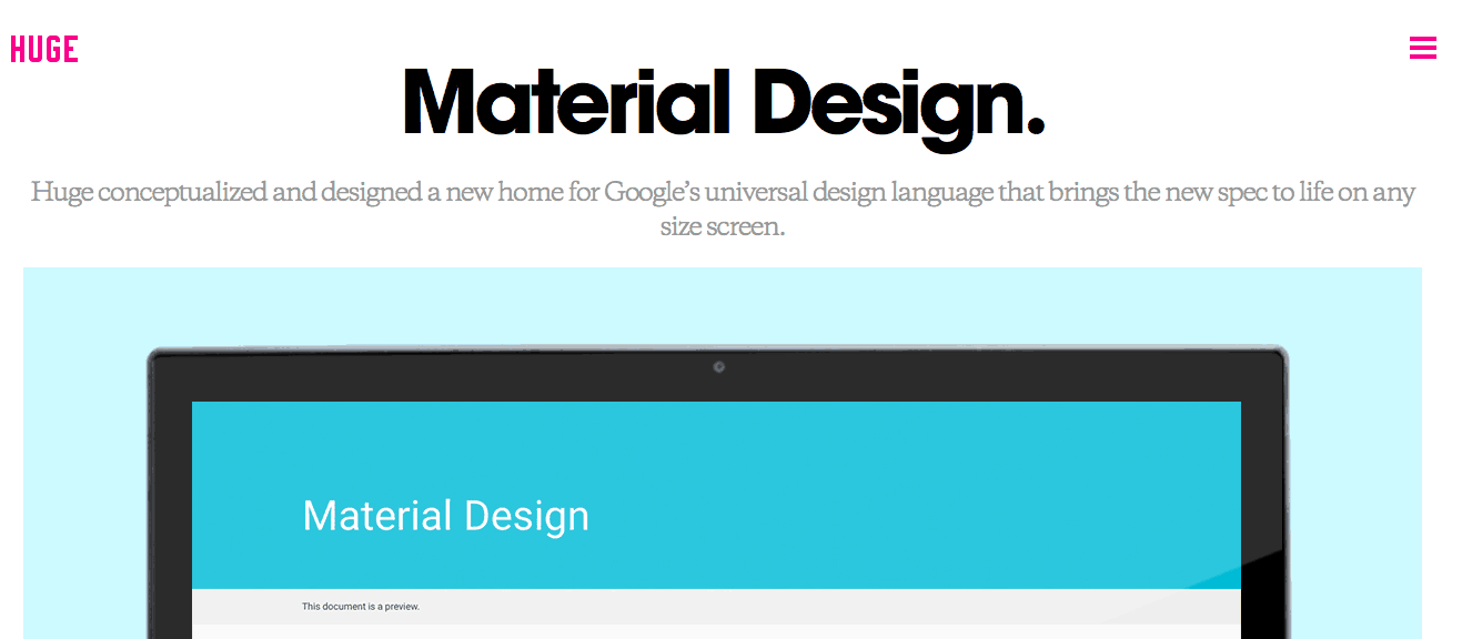Huge Website Header Material Design