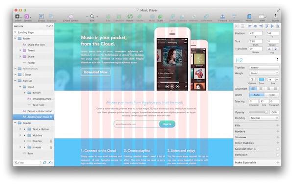 ตัวอย่างการออกแบบ Web Design ใน Sketch 3