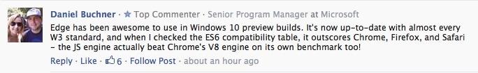 คอมเม้นท์จาก Techcrunch ที่พูดถึงความสามารถของ Microsoft Edge