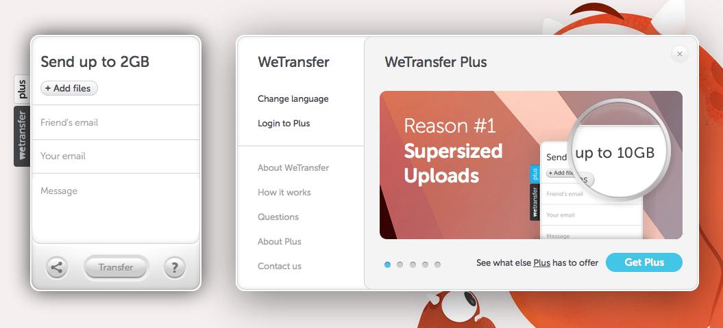 Interface Upload File อันเป็นเอกลักษณ์ของ Wetransfer - freelance tools
