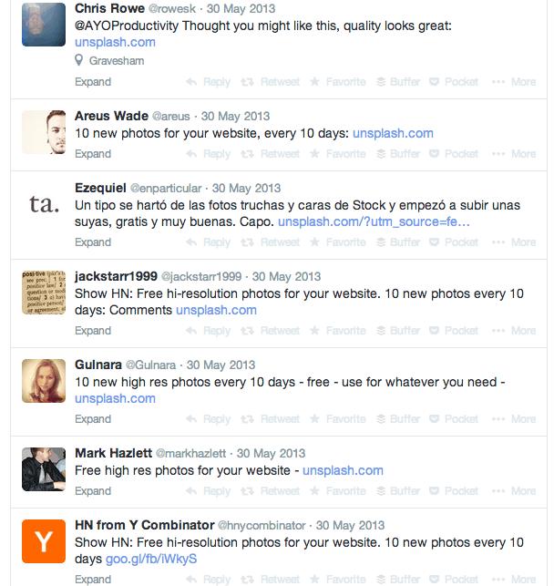 ผลตอบรับของ Unsplash บน Twitter