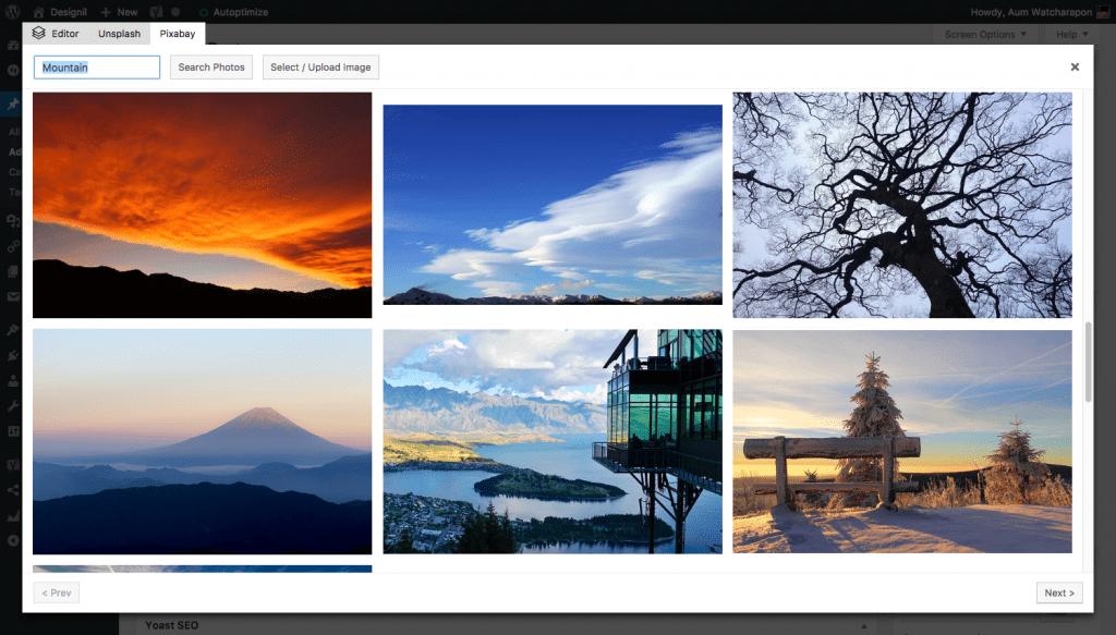 Featured Image Generator ตัวอย่างการค้นหาจาก Pixabay