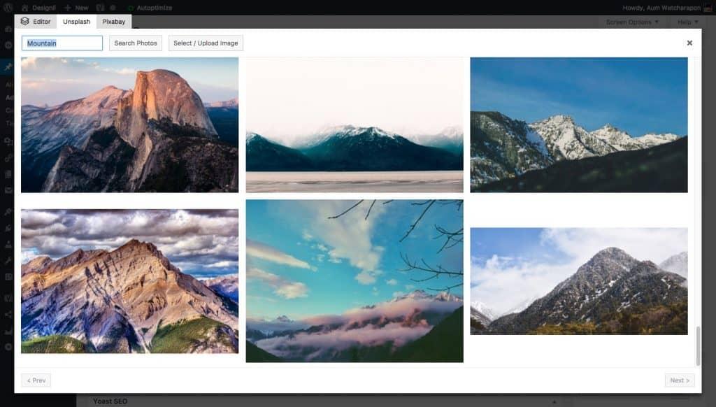 Featured Image Generator ตัวอย่างการค้นหาจาก Unsplash
