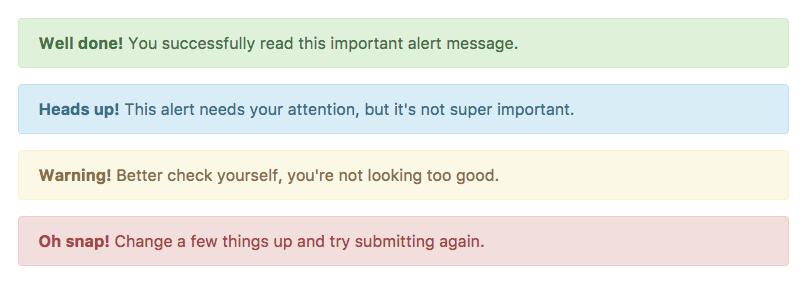 กล่อง Alert แบบต่าง ๆ ใน Bootstrap 4