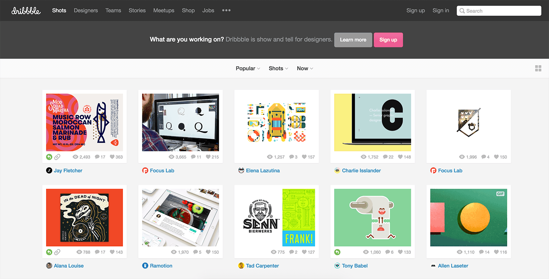 Dribbble Card UI Design ออกแบบเว็บไซต์