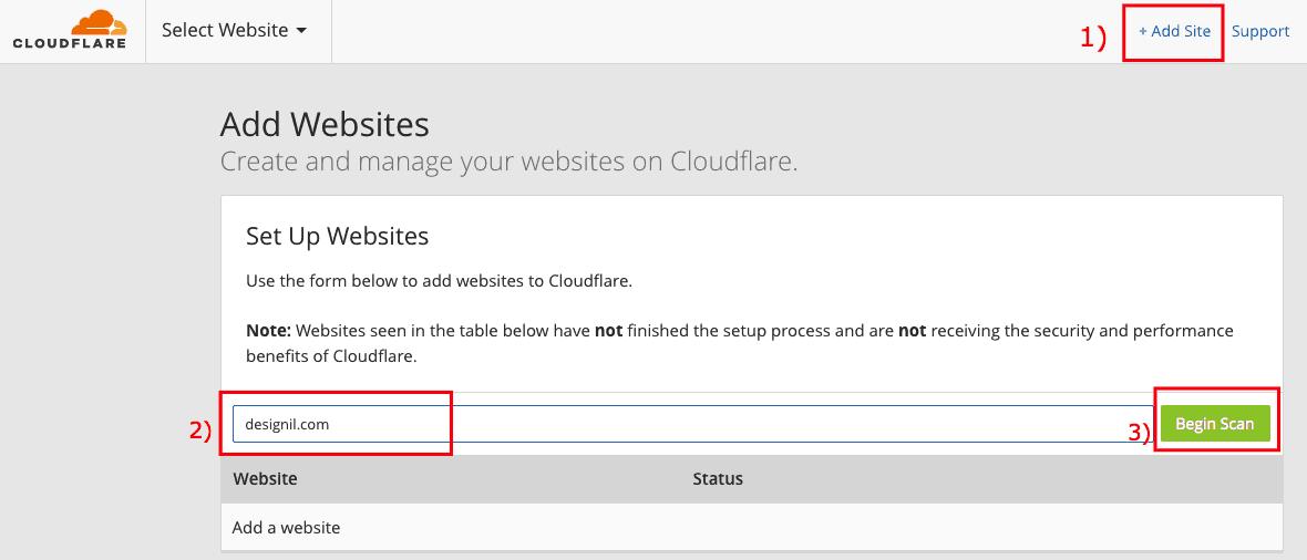 เพิ่มเว็บไซต์ใหม่ใน Cloudflare