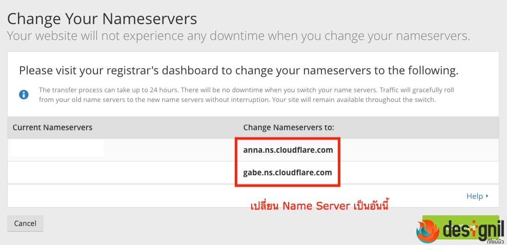 Name Server ของ CloudFlare