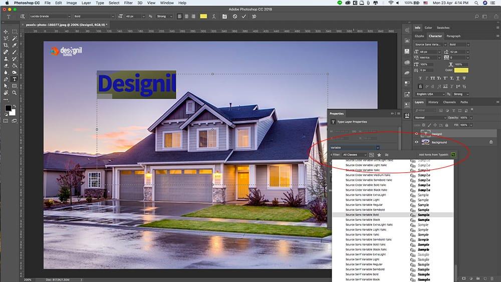 วิธีการใช้ Variable Fonts ใน Photoshop CC 2018 - Designil