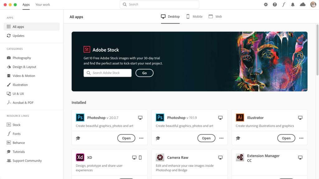Adobe creative cloud - UI หน้าตาใหม่ สวยงามน่าใช้งาน