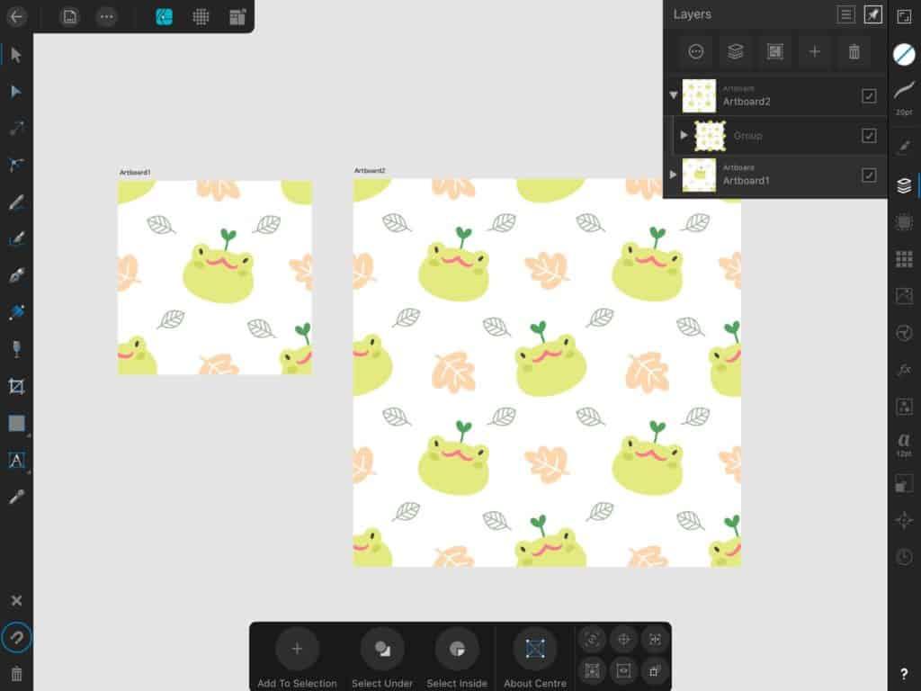 หน้าต่างการใช้งาน Affinity designer บน Ipad