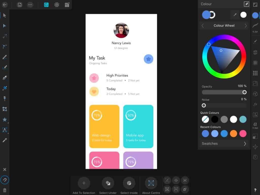 ตัวอย่างการใช้ Affinity Designer สำหรับคนออกแบบ Application