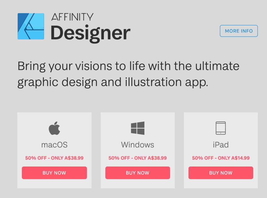 affinity designer pricing