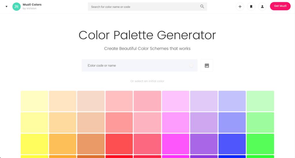 การทำเว็บไซต์ เลือกสีด้วยเครื่องมือจาก Muzli