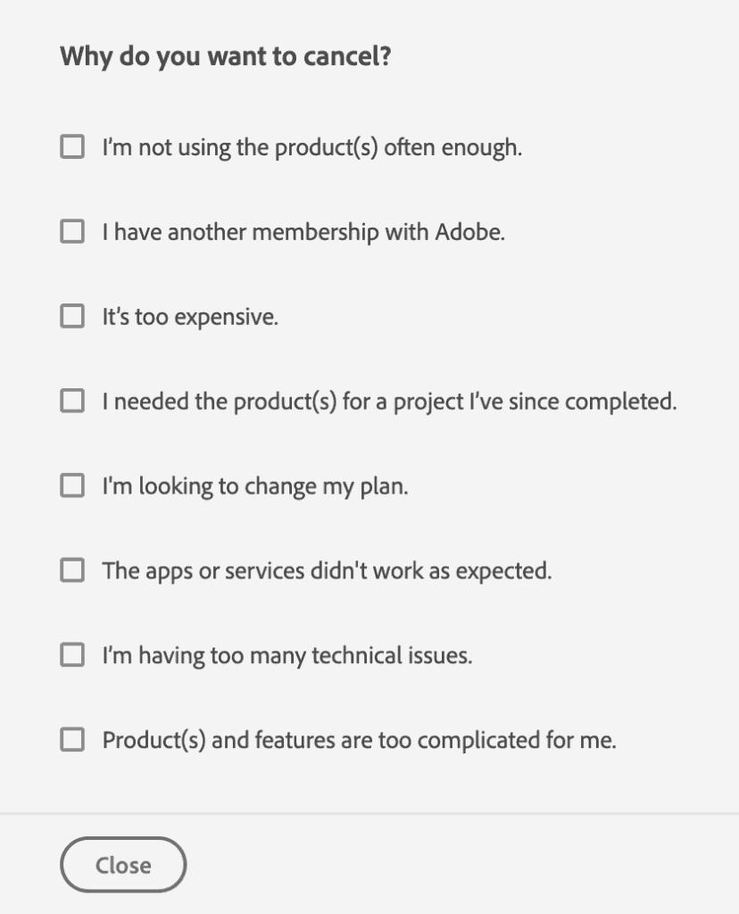 เหตุผลในการขอยกเลิก Adobe creative cloud