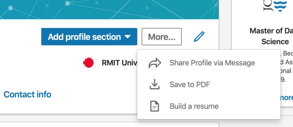 LinkedIn ช่วยสร้าง resume แบบ pdf