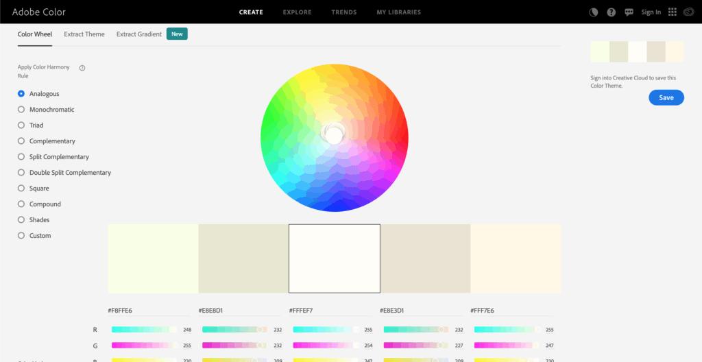Adobe color เครื่องมือเลือกสี สำหรับการทำเว็บไซต์