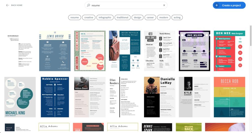 เว็บไซต์สร้าง Resume - Adobe spark