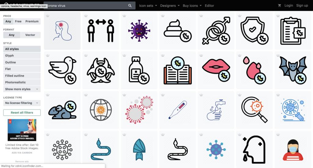 รูปภาพไอคอนตัวอย่าง coronavirus icon from iconfinder