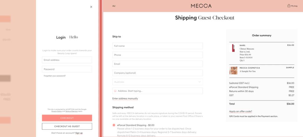 หน้าต่างการชำระเงิน guest checkout จากเว็บไซต์ Mecca เว็บขายของออนไลน์
