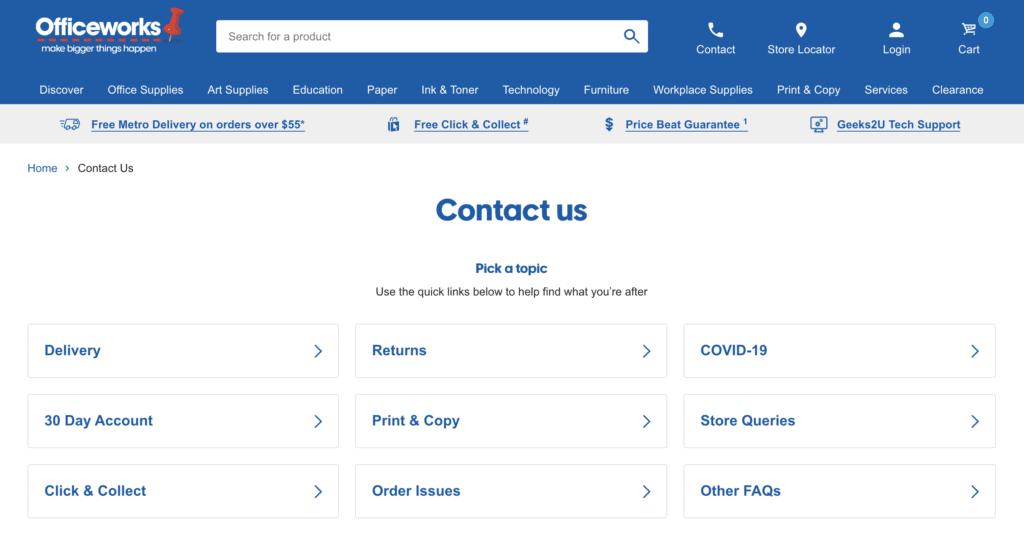 ตัวอย่าง Contact information จากเว็บไซต์ Officeworks