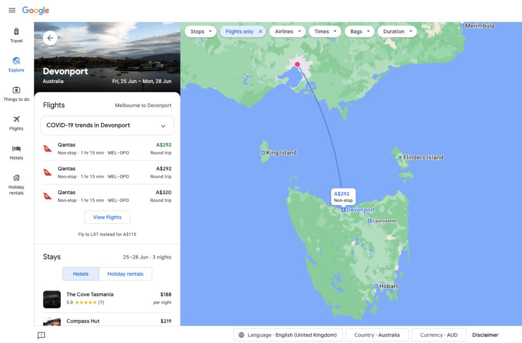 ตัวอย่าง google flights