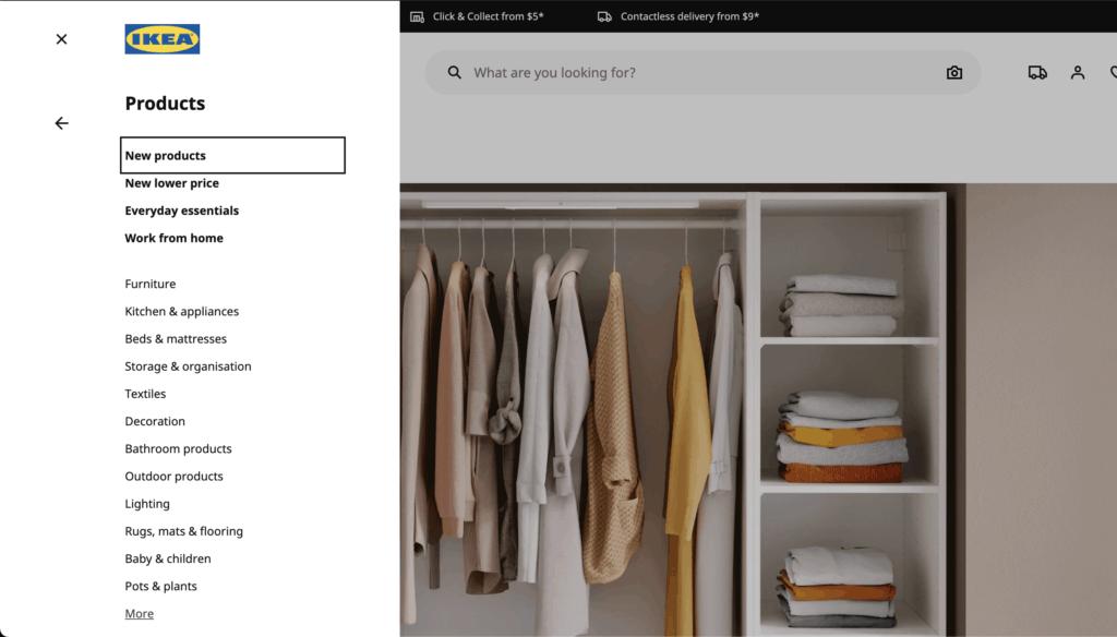 ตัวอย่างการแบ่ง IA จาก Ikea ตัวอย่างการออกแบบเว็บไซต์ร้านค้า