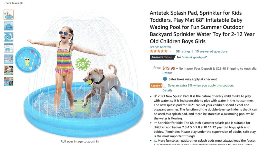 Splash pad from Amazon