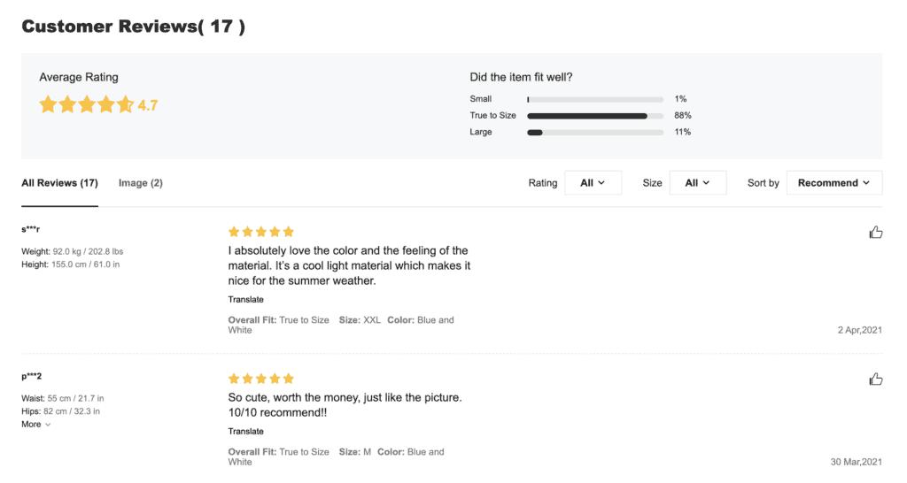 ออกแบบเว็บไซต์ Shein reviews