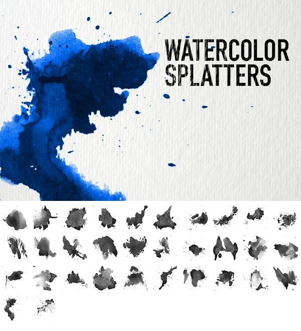 watercolor splatters brush