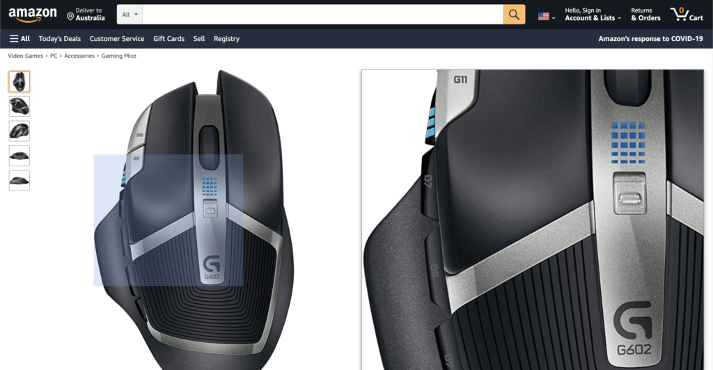 Amazon zoom ออกแบบเว็บไซต์ร้านค้า