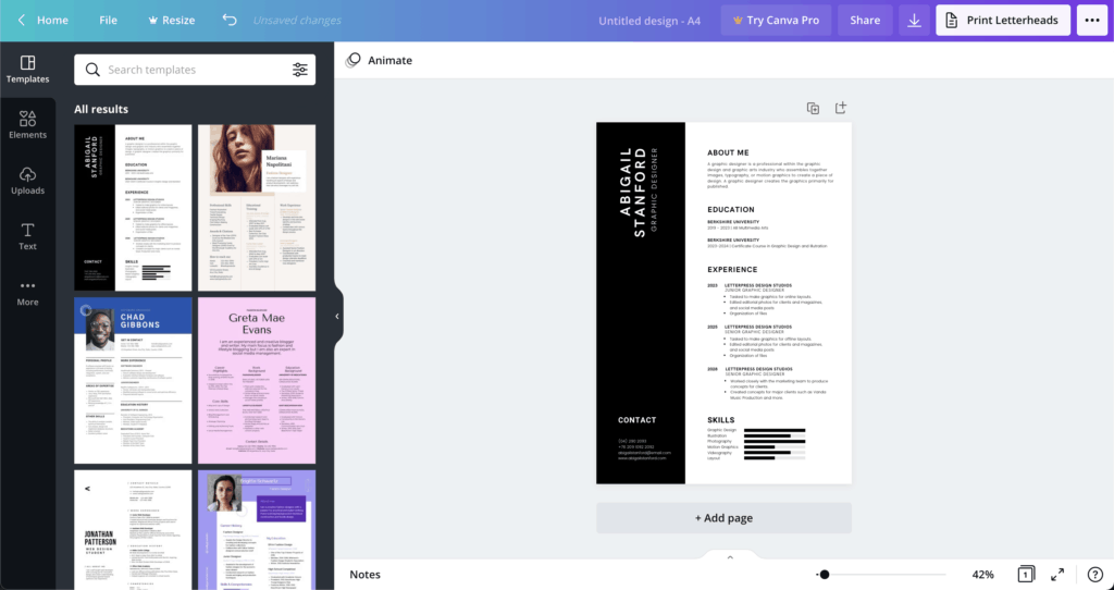 canva resume template