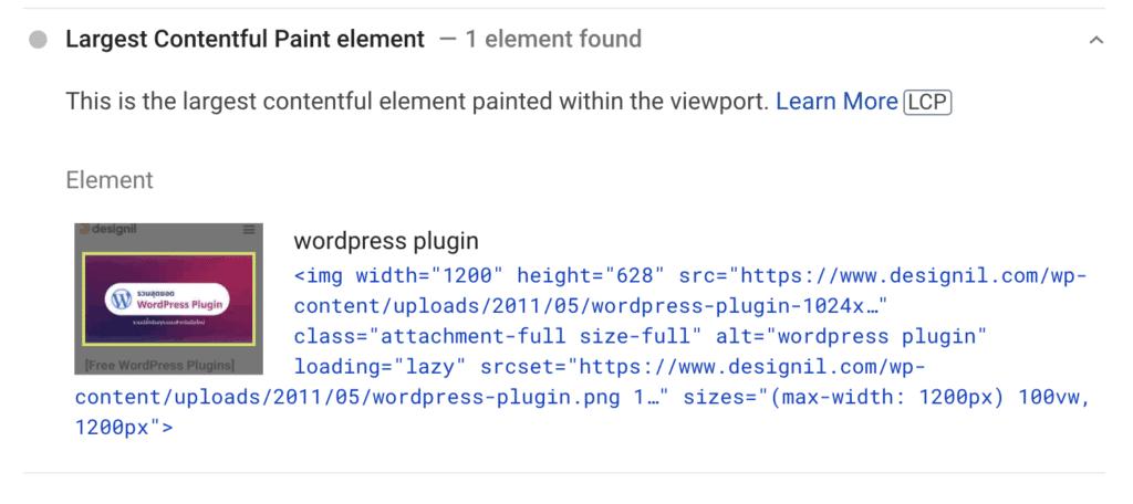 Designil LCP example -  core web vitals