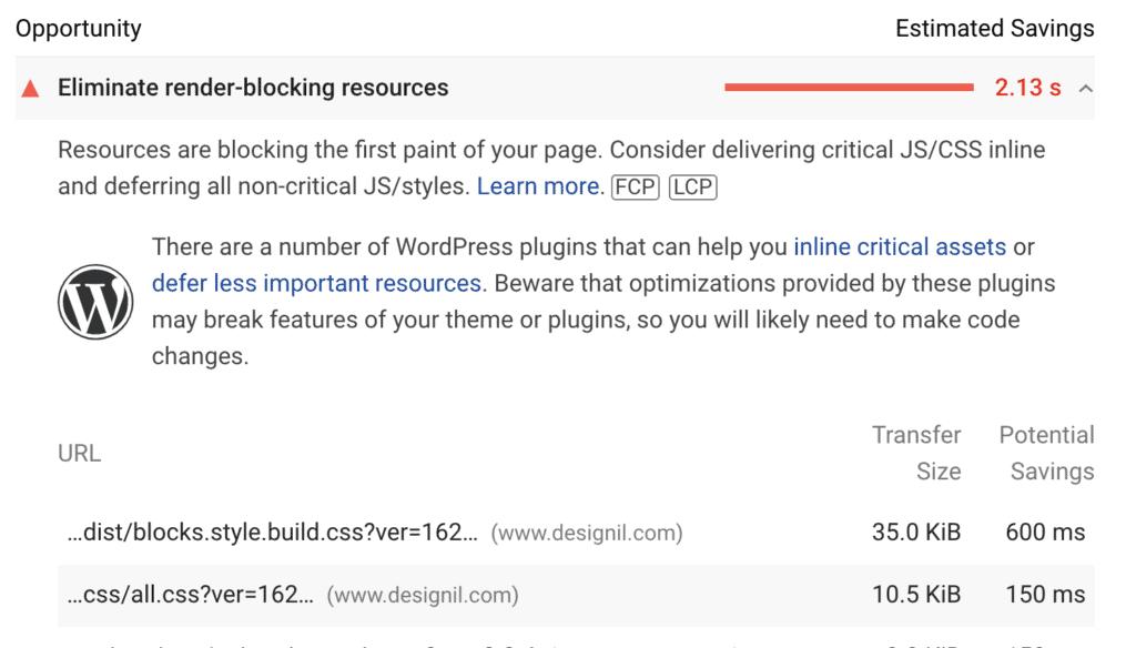 designil render blocking elements - core web vitals