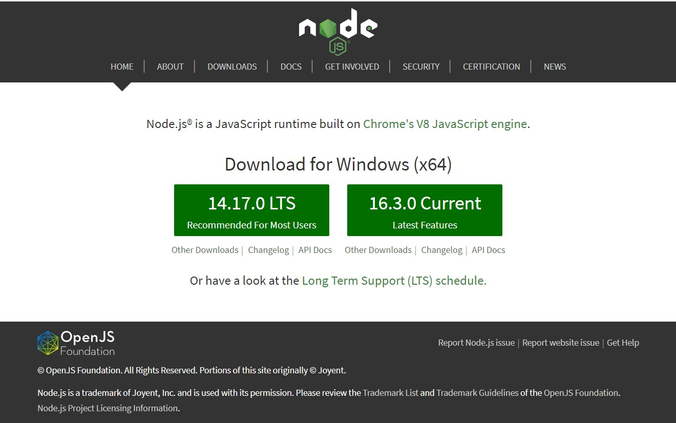 svelte install : node js download
