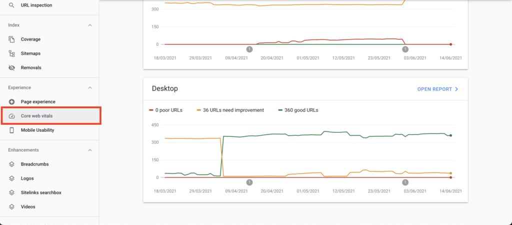 search console core web vitals