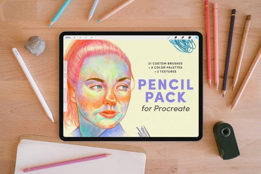 Procreate brush สีไม้