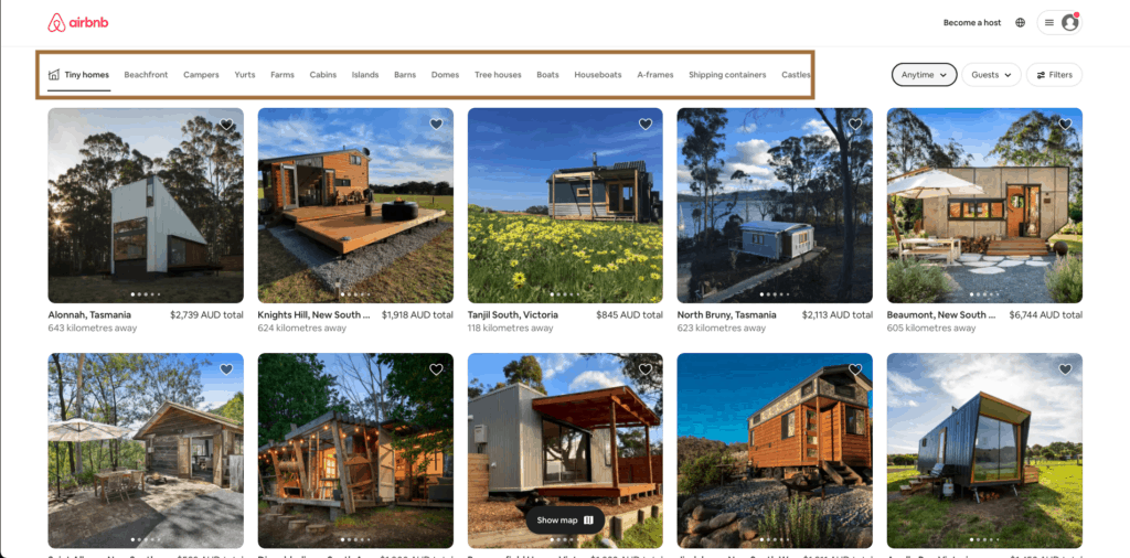 airbnb information architecture - house category