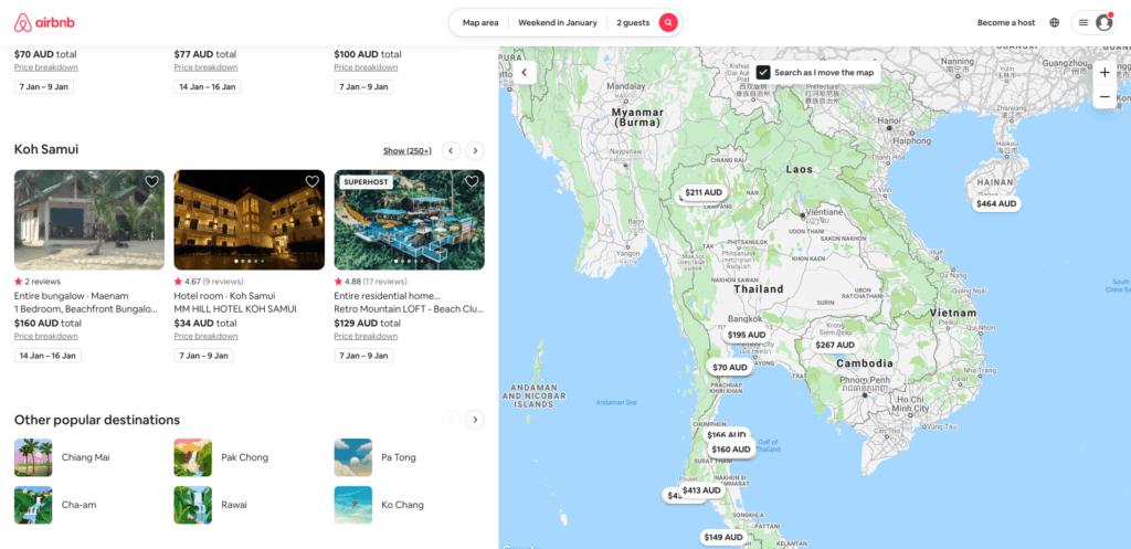 Airbnb thailand popular destinations