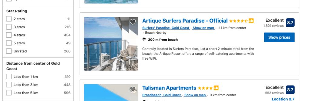 booking.com filter design information architecture