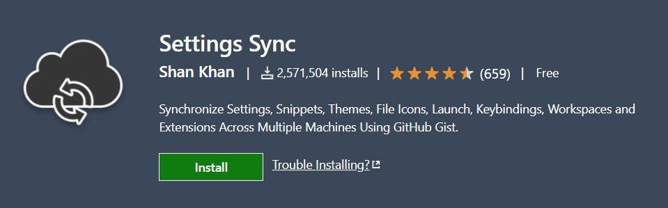 Setting Sync vscode extensions