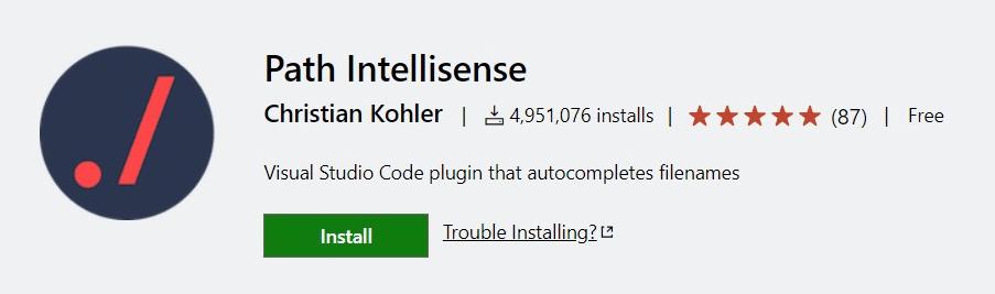 Path Intellisense vscode extensions