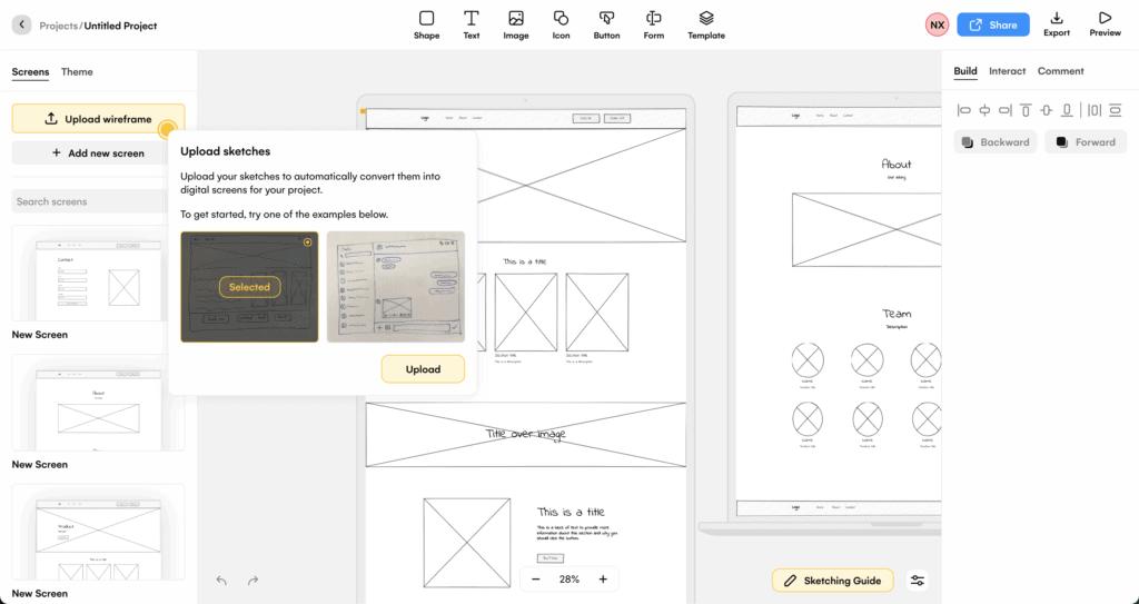 UIZard ออกแบบ Wireframe และ UI จากภาพวาดมือ