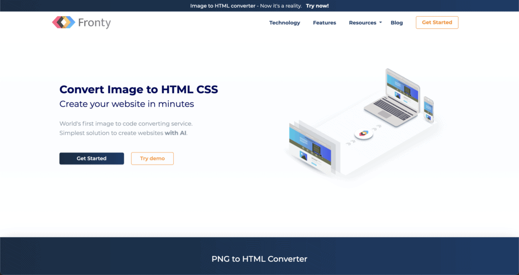 Fronty - Convert image to HTML CSS