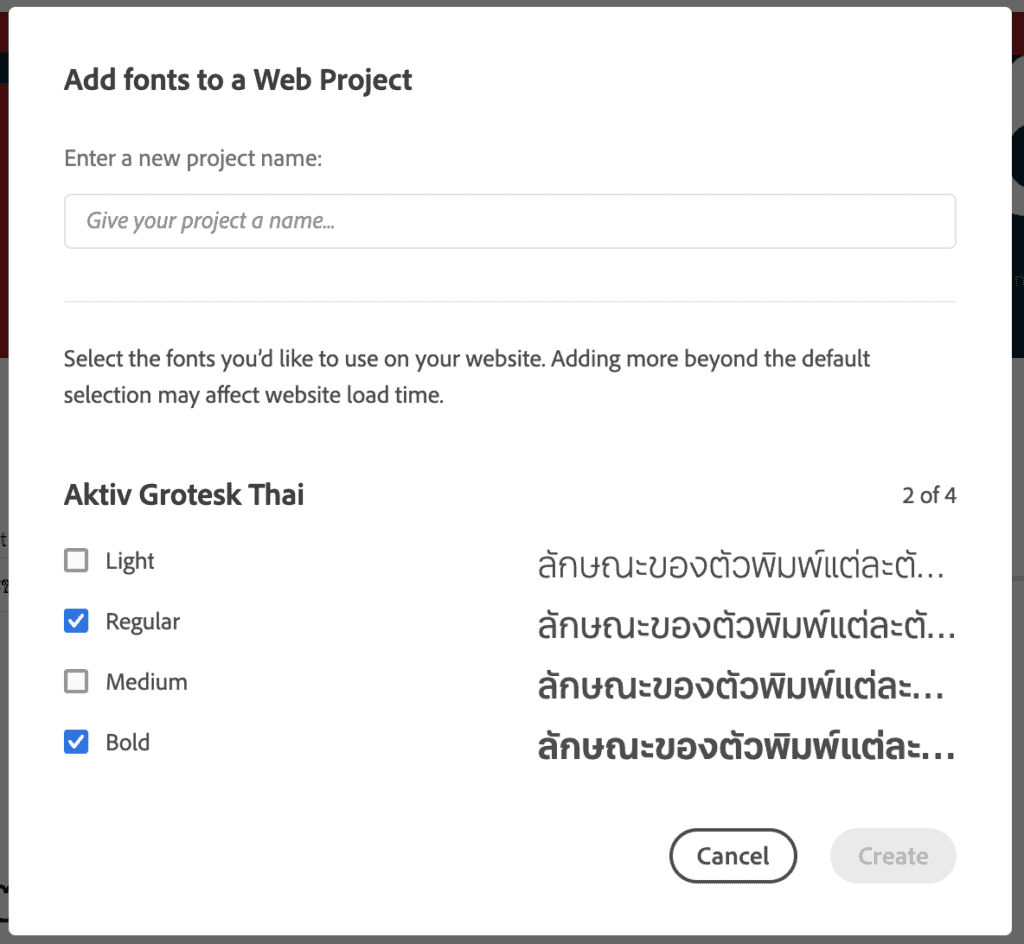 adobe fonts - Add font to web project