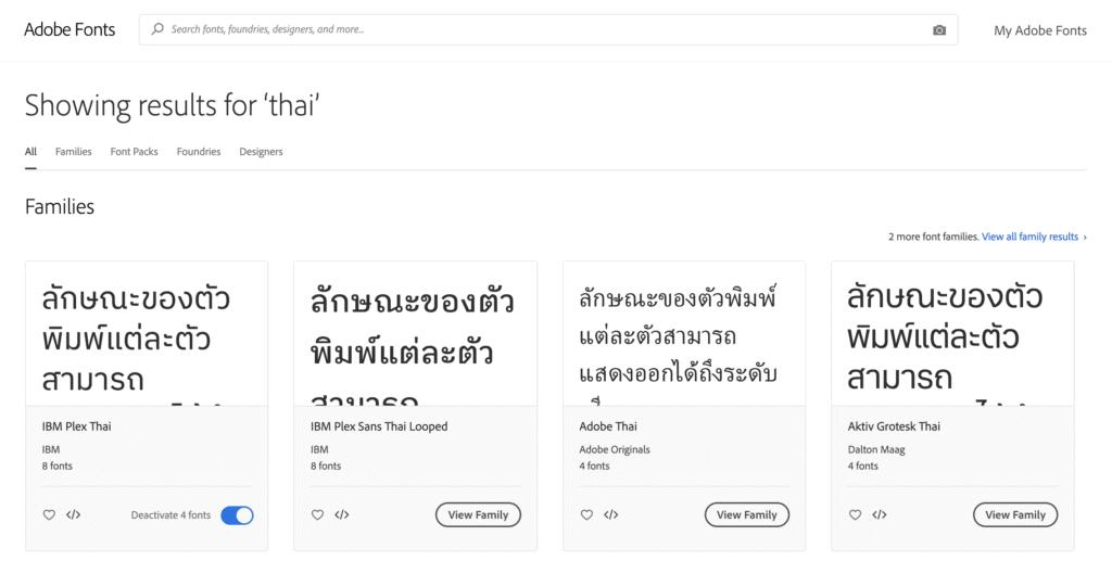 ผลลัพธ์การค้นหา Thai font - Adobe fonts