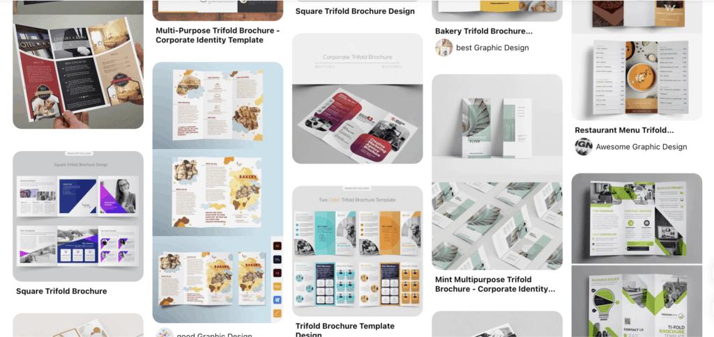 เว็บดูตัวอย่างแผ่นพับสวย ๆ pinterest brochure design